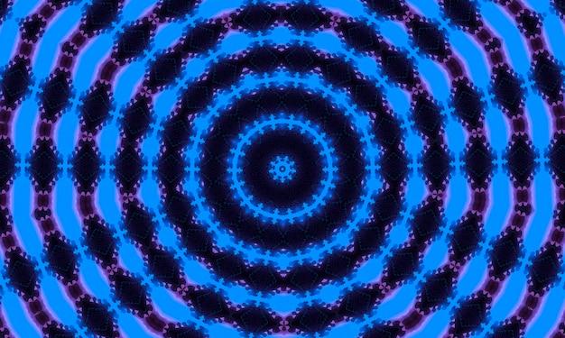 Neon ciano blu profondo con caleidoscopio di ombre viola.