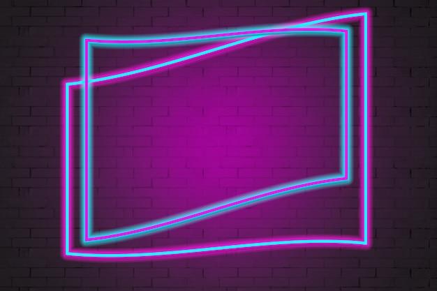 La cornice al neon copia lo spazio sullo sfondo di un muro di mattoni.