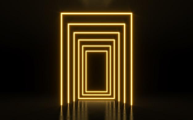 Segno di cornice al neon a forma di rettangolo. rendering 3d