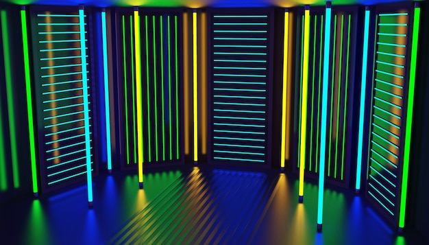 Fondo astratto della stanza del partito di incandescenza al neon. interno del night club.