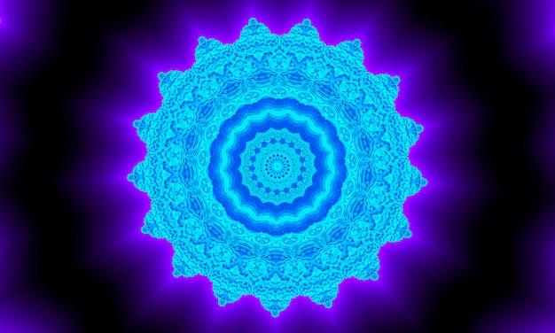 Stella blu incandescente al neon con riflesso nello spazio