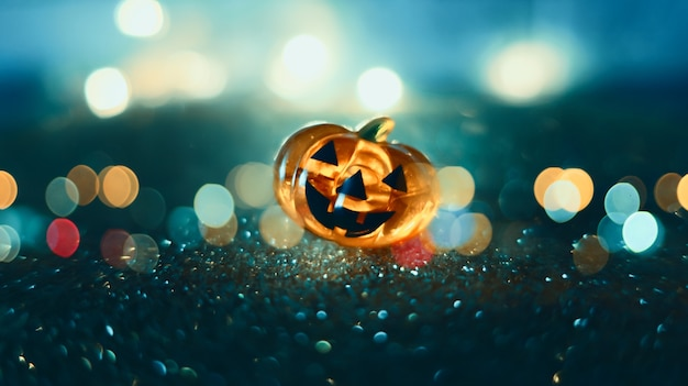 Testa di zucca incandescente al neon su sfondo bokeh sfocato astratto. priorità bassa festiva di halloween con ragnatele e zucca.