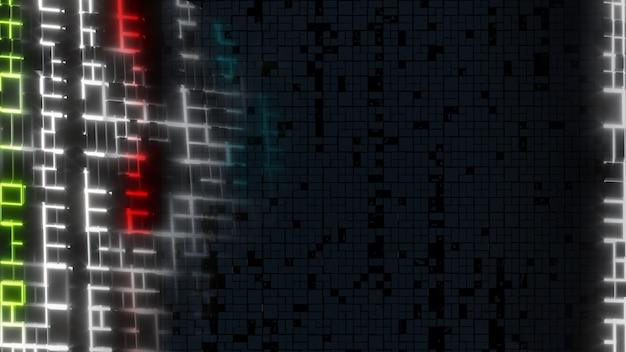 Strisce luminose al neon struttura a blocchi su sfondo nero illustrazione 3d di informazioni future