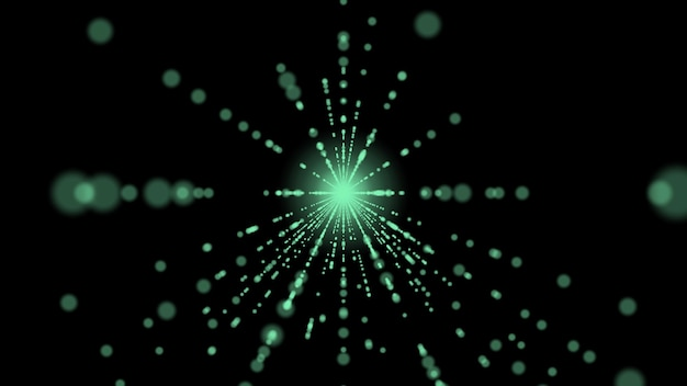 Neon raggi verdi su sfondo nero corridoio astratto di raggi