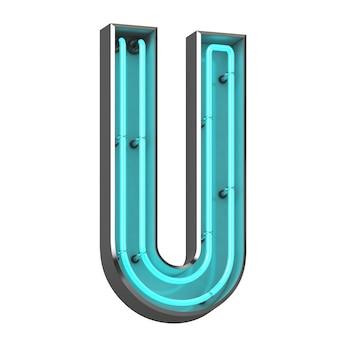 Lettera al neon u su sfondo bianco