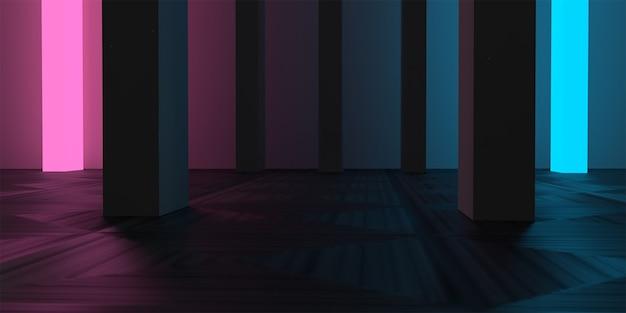 Luce al neon per interni edificio scuro concetto di camera