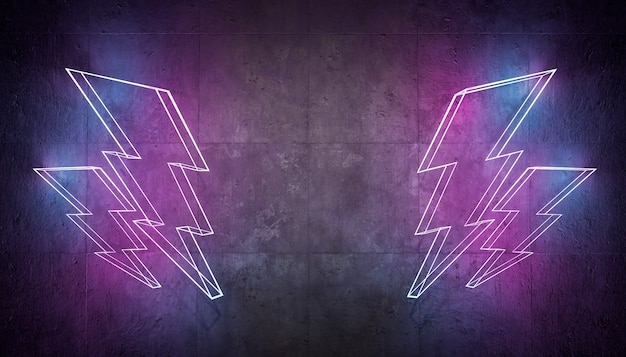 Fulmine al neon sul muro di cemento