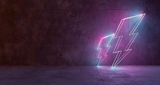 Lampi al neon supportati su un muro di cemento