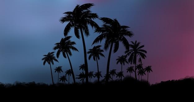 Luci al neon con sfondo di palme