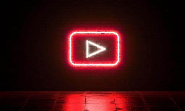 Musica al neon gioca segno su sfondo scuro muro di mattoni rendering 3d