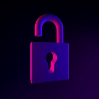Icona del lucchetto aperto al neon. elemento di interfaccia ux rendering 3d dell'interfaccia utente. simbolo incandescente scuro.