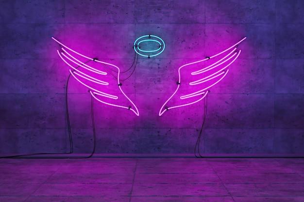 Lampada al neon rosa con ali d'angelo e corona nella stanza vuota per la visualizzazione del prodotto o del modello
