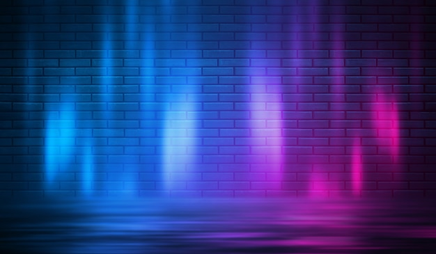 Forme al neon su un muro di mattoni scuri. illuminazione ultravioletta. muro di mattoni, pavimento in cemento. illustrazione 3d