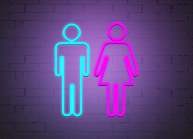 Insegne al neon di uomini e donne sullo sfondo di un muro di mattoni.