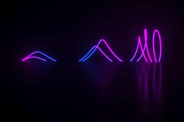 Spirale al neon che si trova sull'illustrazione 3d superficie nera lucida
