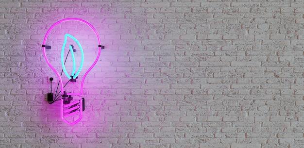 Neon con forma di lampadina e foglia all'interno sul muro di mattoni bianchi