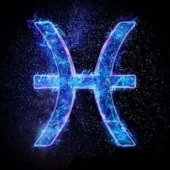 Segno zodiacale al neon pesce per oroscopo astrologico