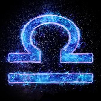 Oroscopo astrologico di segni zodiacali bilancia al neon
