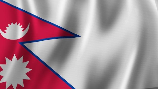Rendering 3d del primo piano della bandiera del nepal con immagine di alta qualità con struttura del tessuto