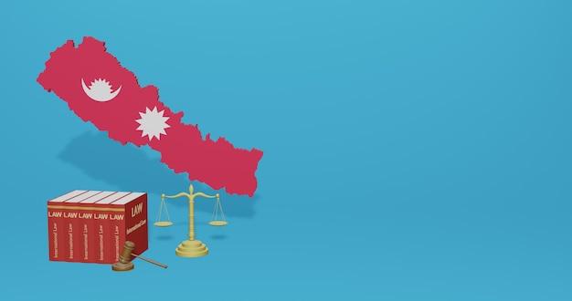 Legge nepalese per infografica, contenuti dei social media nel rendering 3d