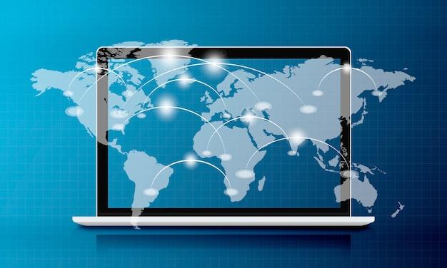 Sfondo di sovrapposizione grafica della connessione di rete sullo schermo del laptop
