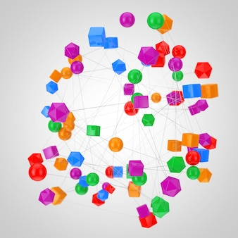 Concetto di connessioni di rete. figure astratte collegate con linee su sfondo bianco. rendering 3d