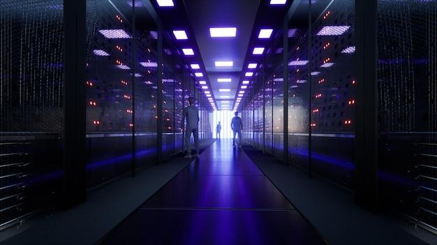 Server di rete e dati dietro pannelli di vetro in una sala server di un data center o rendering 3d isp