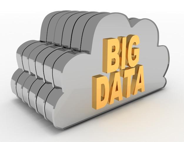 Nuvole di rete. concetto di big data. 3d reso illustrazione