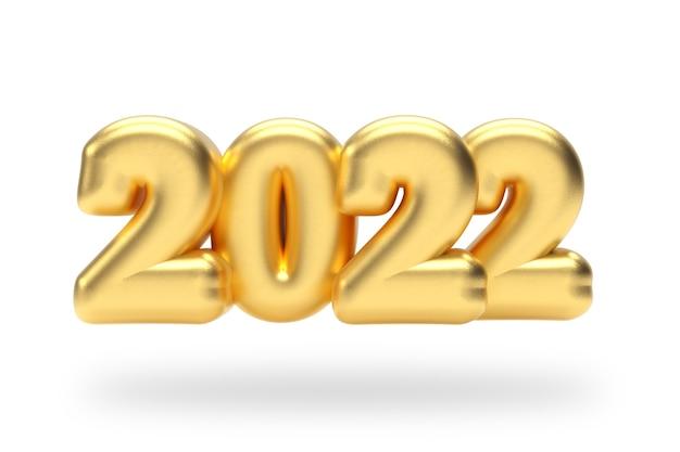 Segno di bolla gonfiata dorata del nuovo anno 2022 su sfondo bianco. rendering 3d