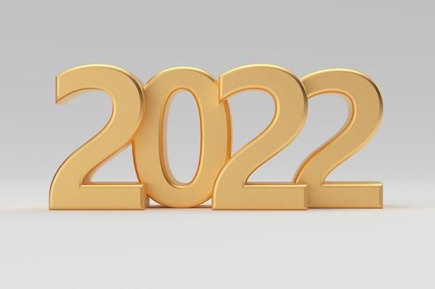 Segno d'oro del nuovo anno 2022 su sfondo bianco. rendering 3d
