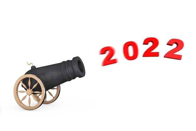 Segno del nuovo anno 2022 sparare dal cannone su sfondo bianco. rendering 3d