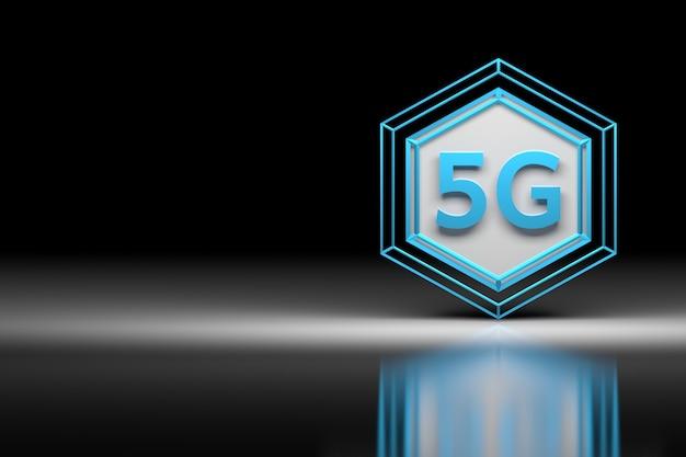 Nuovo simbolo della tecnologia 5g in un grande esagono sulla superficie dello specchio