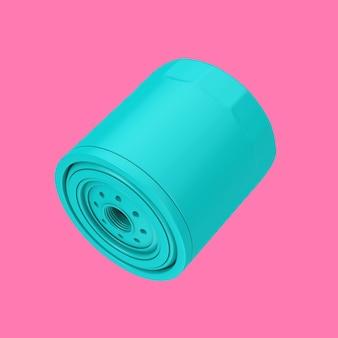 Nuovo filtro olio per auto blu in un alloggiamento in stile bicromia su sfondo rosa. rendering 3d