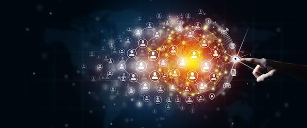 Nuovo concetto di connessione commerciale globale uomo d'affari che guida la connessione globale