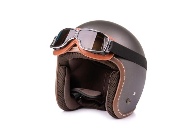 Nuovo casco vintage grigio e occhiali antivento