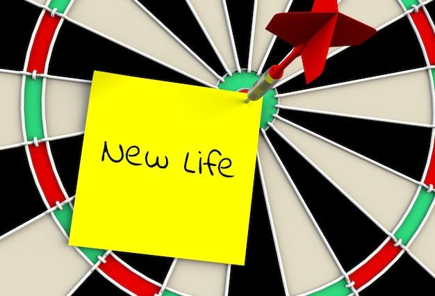 Nuova vita, messaggio sul bersaglio per le freccette, rendering 3d
