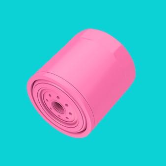 Nuovo filtro olio per auto rosa in un alloggiamento in stile bicromia su sfondo blu. rendering 3d