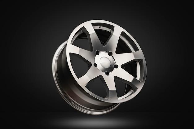 Nuova ruota in lega d'argento lucidata su sfondo scuro sfumato. design moderno