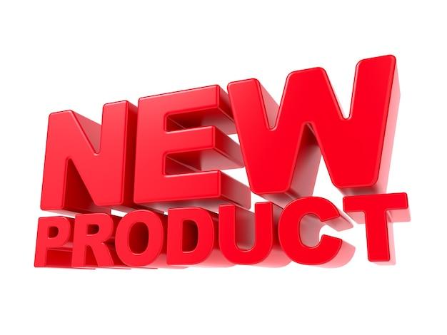 Nuovo prodotto: testo 3d rosso. isolato su sfondo bianco.