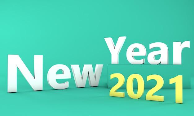 Concetto di design del nuovo anno 2021. illustrazione 3d. rendering 3d