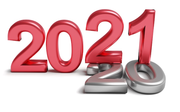 Anno nuovo 2021 concetto di vacanza. il numero di colore 2021 si trova al 2020