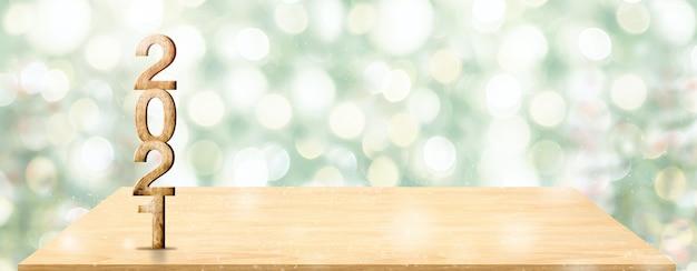 Numero di legno bianco del nuovo anno 2021