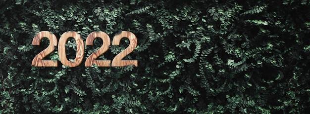Struttura di legno del nuovo anno 2022 sulla parete verde scuro tropicale del fogliame della foglia all'aperto.concetto di ecologia.cura mondiale dell'ambiente