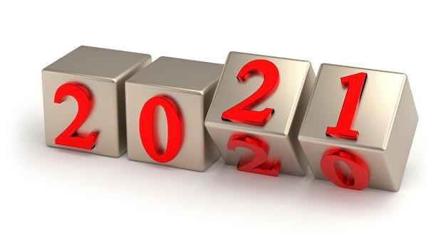 Concetto di nuovo anno i cubi con numero sostituiscono su sfondo rosso