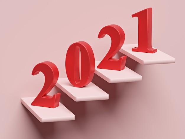 Concetto di nuovo anno. numero rosso 2021 sui gradini