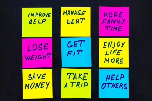 Obiettivi o risoluzioni del nuovo anno - note adesive colorate su una lavagna.