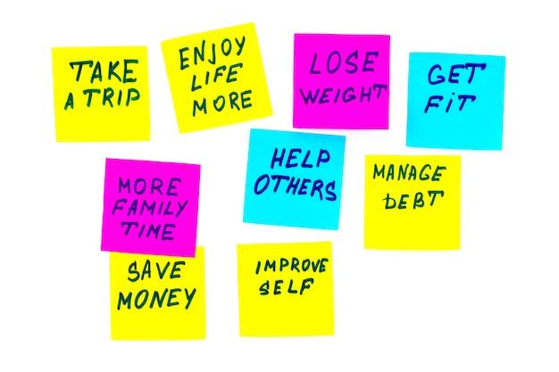 Obiettivi o risoluzioni del nuovo anno - note adesive colorate su sfondo bianco.
