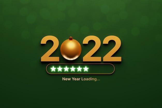 Concetto di caricamento del nuovo anno 2022 e palla di natale su sfondo verde di lusso