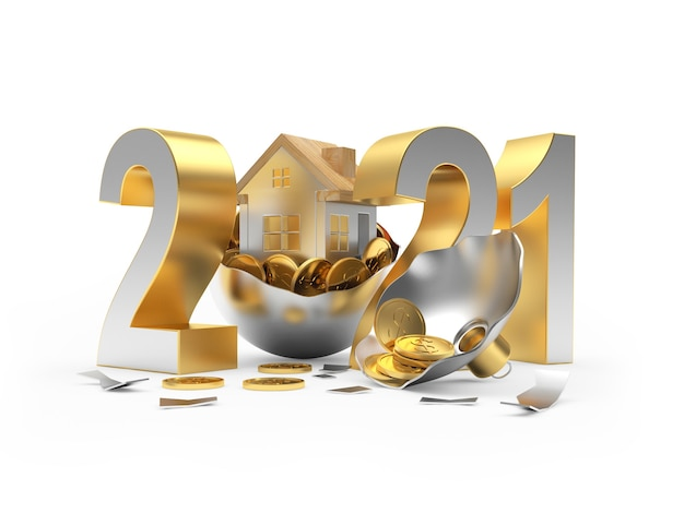 Numero di nuovo anno e icona della casa