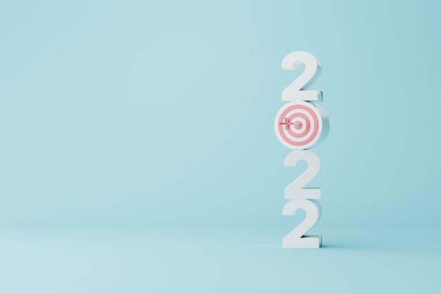 Risoluzione del nuovo anno 2022 raggiungimento dell'obiettivo ambizione che mira al successo bersaglio e freccia con numero